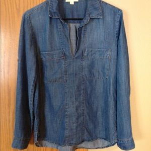 cloth & stone Anthropologie Chambray Top (size S)